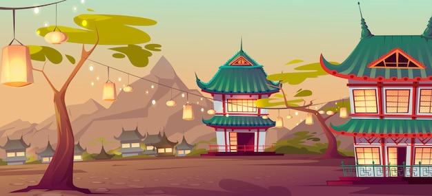 伝統的な家屋を持つ中国、アジアの村