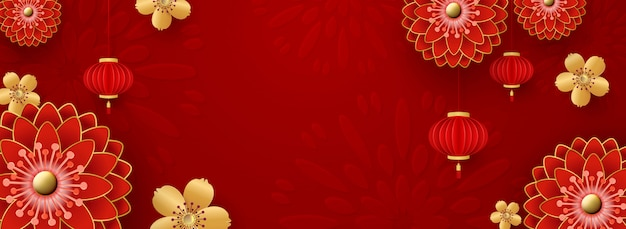 Chinese background for new year  greeting card. red chrysanthemums and golden sakura flowers.