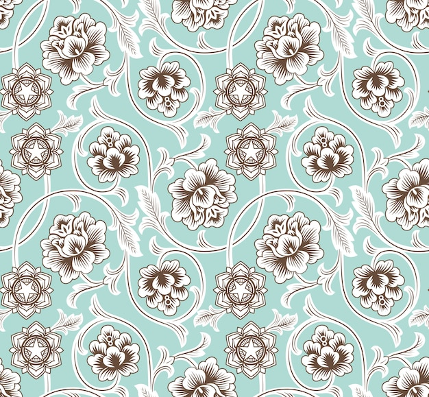 Chinese background with flowers. seamless pattern.