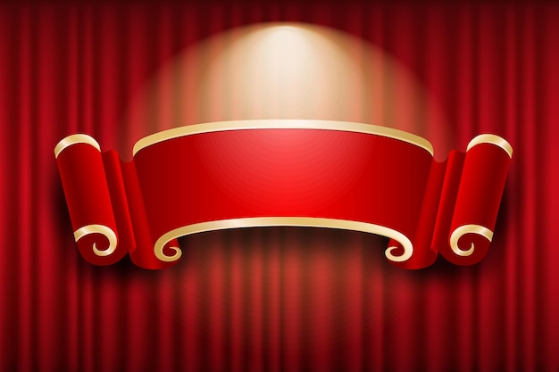 Chinese banner design on red curtain light up background,  illustration