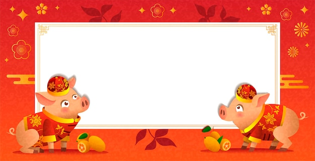 Chinese banner. two pigs in traditional chinese costumes. ripe orange tangerines. white empty board. chinese red background with traditional decorative elements. vector illustration