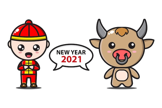 Chinese boy and cute ox say new year