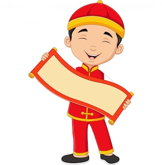 Chinese boy holding blank scroll banner