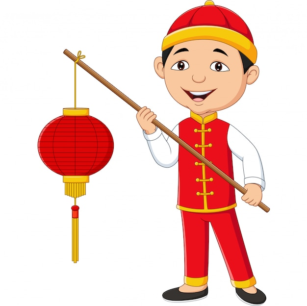 Chinese boy holding a lantern