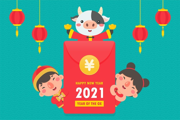 Chinese boys and girls wearing national red clothes on new year 2021.