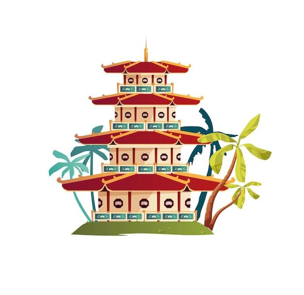중국 불교 탑 건물. 아시아 건축.