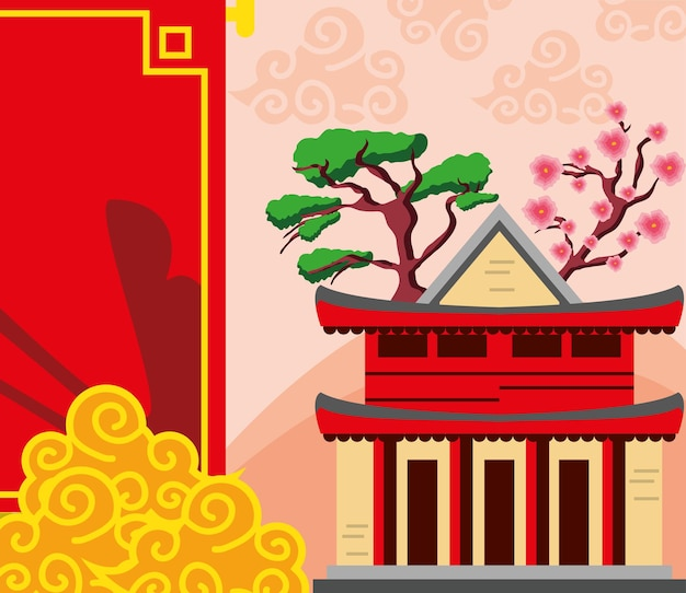 Chinese building flower bonsai cloud
