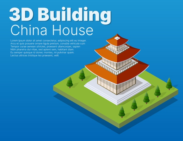 Chinese building house buddhist art of the temple of oriental asia culture in an isometric view