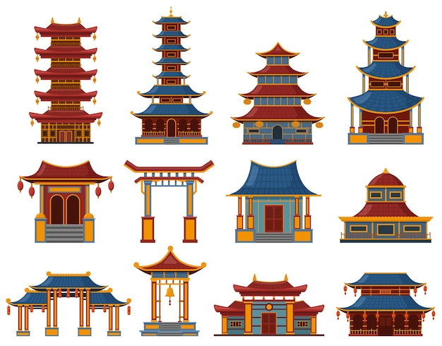 Chinese buildings. architectural asian temples, palaces and pagoda houses, china cultural objects illustration set