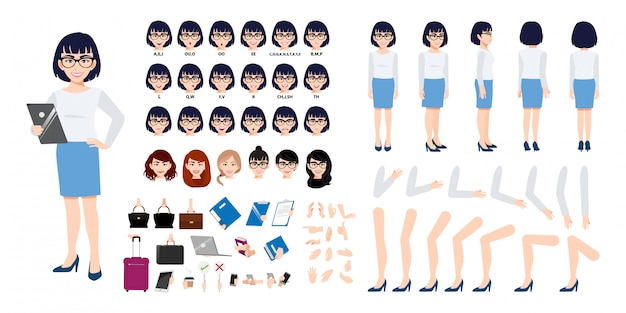 Chinese businesswoman cartoon character creation set with various views.