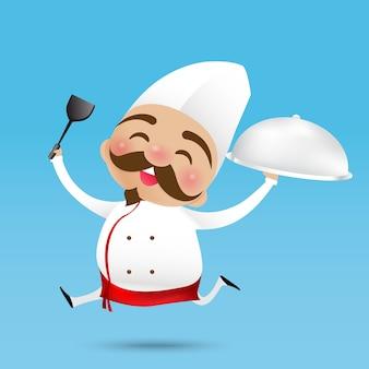 ターナーを抱き、幸せな笑顔で食べ物を提供した中国のシェフの漫画