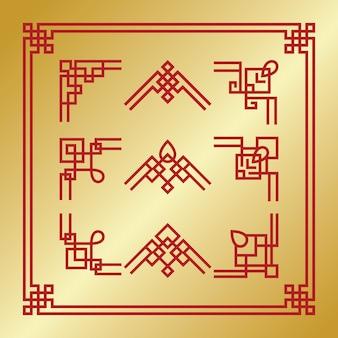 中国のコーナーとボーダー要素セット