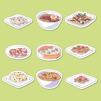 Chinese cuisine dishes isolated stickers