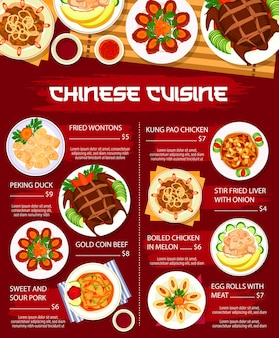 Chinese cuisine food, asian menu dishes lunch and dinner vector restaurant meals poster. chinese cuisine traditional peking duck and wonton dumplings, chicken with sweet and sour pork and beef