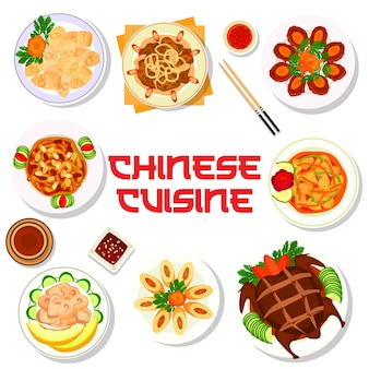 Chinese cuisine food menu with asian dishes and plates