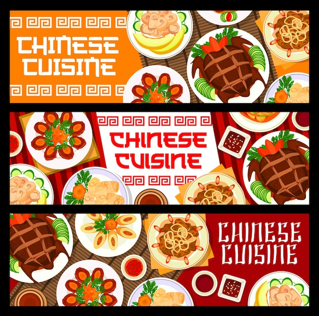 Chinese cuisine food, restaurant banners or asian menu dishes, vector. chinese peking duck and wonton dumplings, asian traditional chicken in melon with sweet and sour pork and egg rolls