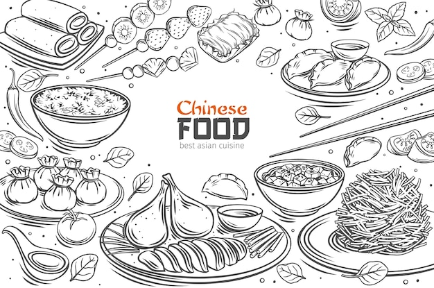 Chinese cuisine menu layout asian food outline illustration