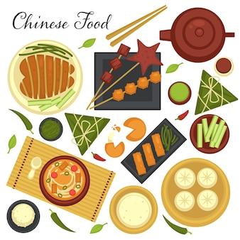 Меню китайской кухни. набор блюд и традиционных рецептов азиатской страны. восточный завтрак или обед, деликатес из китая. супы и мясо на тарелках, подается с овощами и палочками для еды вектор