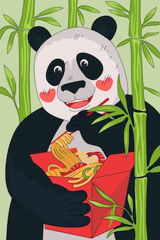 Chinese cuisine noodle box poster concept china panda eat with chopsticks national meal wok in red