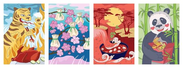 중국 요리 포스터 호랑이는 젓가락으로 북경 오리를 먹습니다. 중국 국가 음식 배너 만두 딤섬 또는 완탕. 오리엔탈 플라이어 스프 요리 마파두부. 팬더는 국수 웍 빨간색 상자 플래카드를 들고 있습니다. 벡터