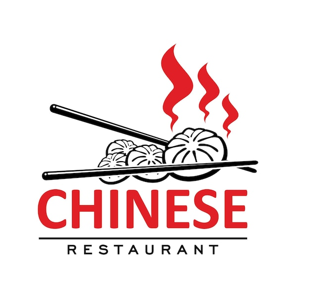 Chinese cuisine restaurant icon with baozi and sticks. vector emblem for asian cafe with traditional meal of china steamed dough dumplings stuffed with pork, bamboo sticks. red and black colored label
