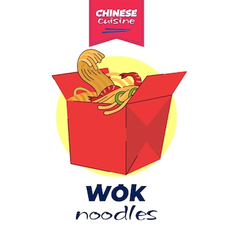 Chinese cuisine wok box banner concept china national noodle dish meal in red paper package asian