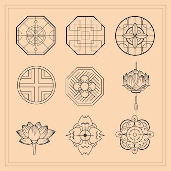 中国文化の装飾品アイコンセット