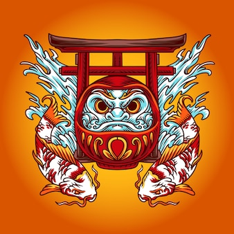 Chinese daruma illustration