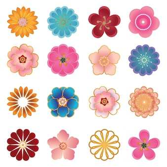 Chinese decorative icons,  flowers in modern 3d paper cut style.