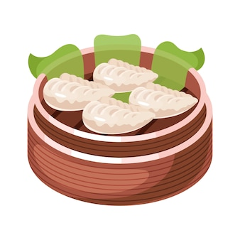 Chinese dim sum color icon. asian small bite dish in basket. eastern traditional cuisine. steamed pies with different fillings. dumpling with meat, vegetables, spices.   illustration