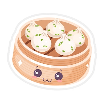 Набор китайских димсам милые каваи символов. азиатское блюдо с улыбающимся лицом. восточная традиционная кухня. пельмени со специями. смешные смайлики, смайлики. мультфильм цветная иллюстрация