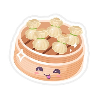 Chinese dim sum cute kawaii  characters set. asian dish with smiling face. eastern traditional cuisine. type of dumplings. funny emoji, emoticon. isolated cartoon color illustration