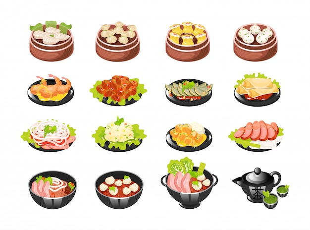 Chinese dishes icons set.