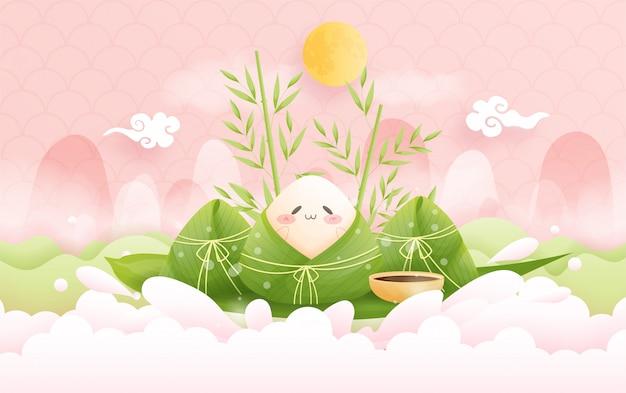 Фестиваль шлюпки китайского дракона с затвором мальчика в реке и варениках риса, милой иллюстрации характера.
