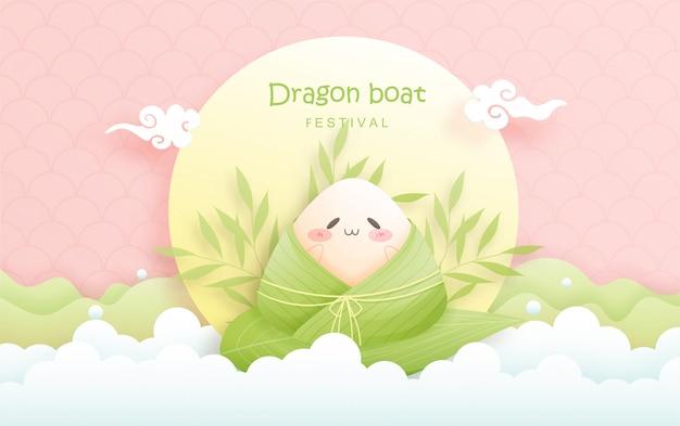 Китайский фестиваль лодок-драконов с рисовыми клецками, милая иллюстрация характера.