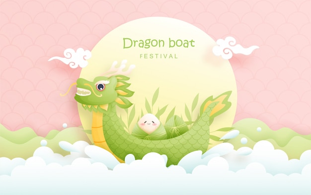 Chinese dragon boat festival with rice dumplings, cute character   illustration.