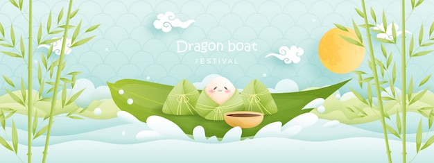 Chinese dragon boat festival with rice dumplings, cute character .