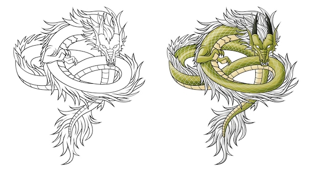 Раскраска мультяшный китайский дракон для детей