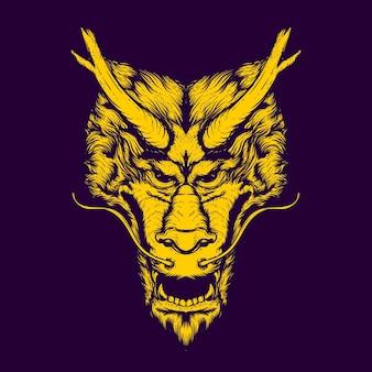 Иллюстрация лица китайского дракона