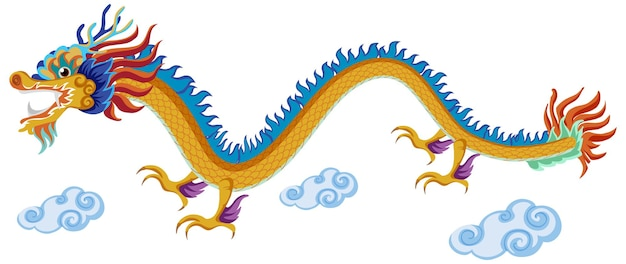 Chinese dragon flying over clouds isolated on white background