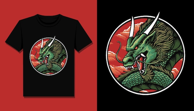Tシャツデザインの中国のドラゴンヘッド