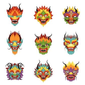 Набор голов китайского дракона, символ китайского нового года
