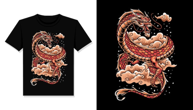 Chinese dragon illustration t shirt