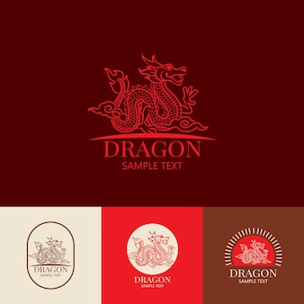 中国のドラゴンのロゴのデザインテンプレート