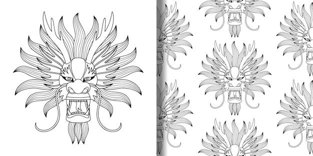 中国のドラゴンのアウトラインのヘッドプリントとシームレスなパターンの中国のカレンダーテキスタイルとtシャツのプリント