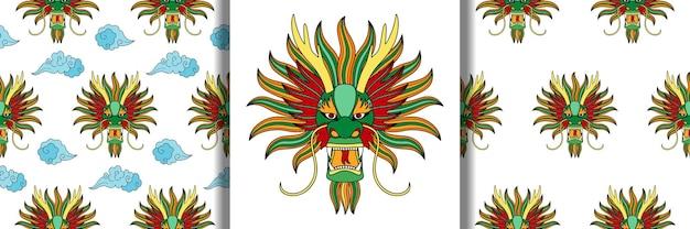 中国のドラゴンの輪郭のヘッドプリントとタトゥーテキスタイルとtシャツのプリントのシームレスなパターン