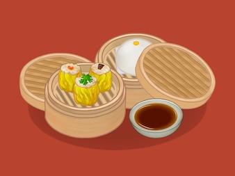 Китайские пельмени и иллюстрации булочки