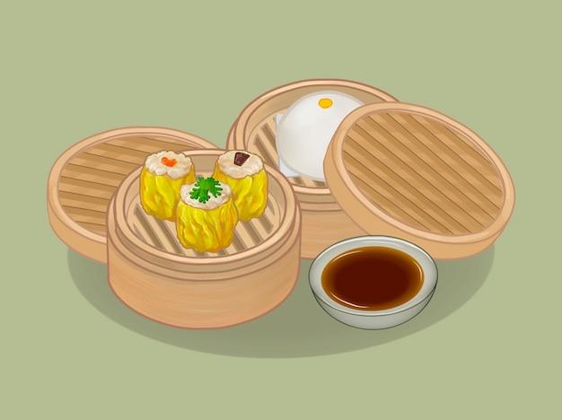 Chinese dumplings and bun illustration
