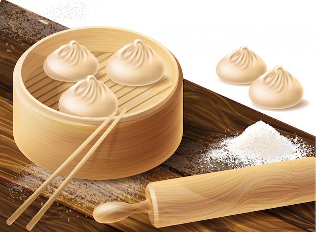 Chinese dumplings or xiao long bao in bamboo steamer