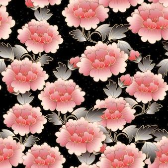 中国のエレガントな植物園ピンクの牡丹の花のシームレスなパターンの背景。